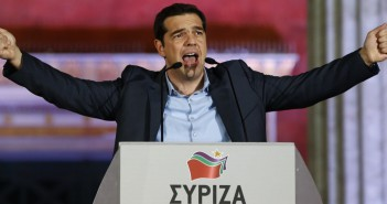 The head of radical leftist Syriza party Tsipras speaks to supporters after winning the elections in Athens