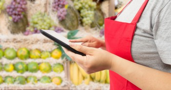 shopping online the fruits with a digital tablet